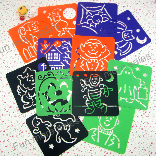 12Designs/set Halloween stencils for painting Kids drawing templates