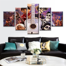 Home Decor HD Printed Canvas Wall Art Modular Pictures 5 Pieces Movie Coco Migo And Ector Paintings Modern Living Room Posters decor home hd printed canvas wall art modular pictures 5 pieces harry potter school castle paintings living room movie posters