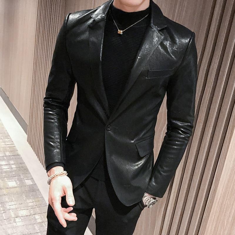 2019 Autumn Designer Leather Blazers Mens Black Leather Jackets Club Mens Stage Wear Fashion Men Blazer Slim Fit Elegant Quality