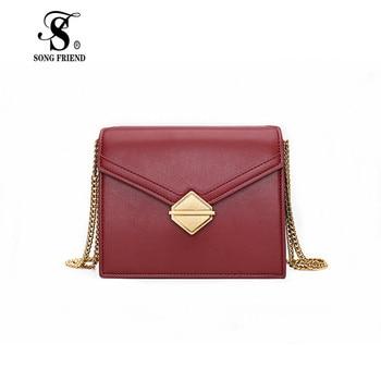 2019 Retro Lock Chain Bag Fashion New Single Shoulder Bag Leather Slant Bag Fashion Women's Bag