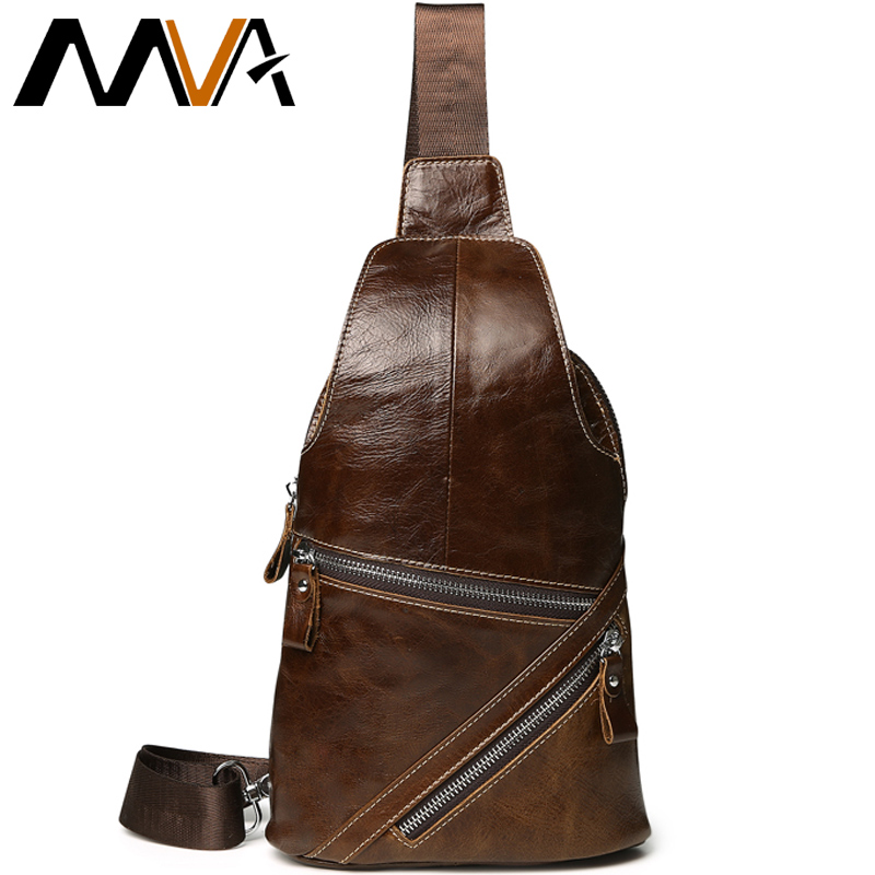 MVA Casual Cell Phone Chest Bag Men Leather Shoulder Bag Genuine Leather Crossbody Bags Men's Travel Belt Bags Chest Pack New westal men s travel phone chest pack genuine leather men bag men messenger shoulder bags leather belt waist bag crossbody bags