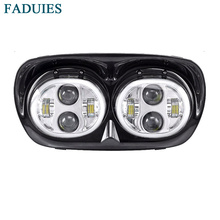 FADUIES Dual LED Headlights Projector Bulb with Angel Eyes Halo for Harley Motocycle Road Glide 2004-2013 Headlamp Accessories