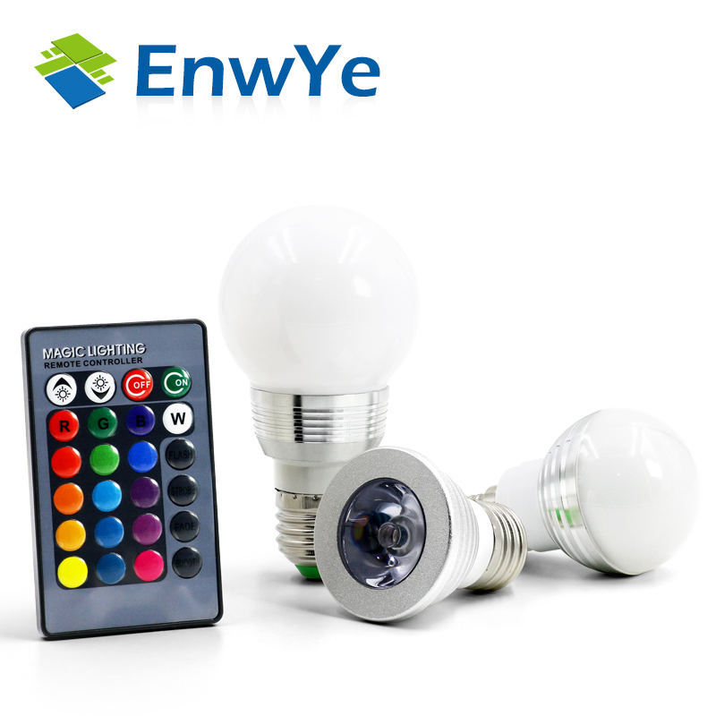 EnwYe E27 E14 LED RGB Bulb lamp AC110V 220V 3W 5W Spot light dimmable magic Holiday RGB lighting+IR Remote Control 16 colors
