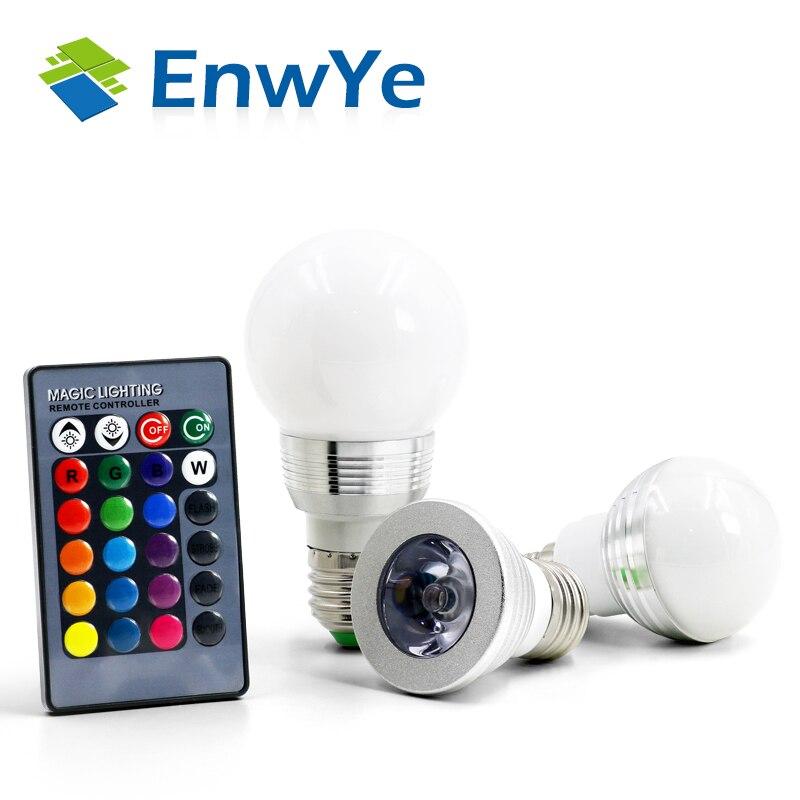 Enwye E27 E14 RGB LED лампа AC110V 220 В 3 Вт 5 Вт пятно света затемнения волшебный Праздник Rgb освещение + ИК-Дистанционное управление 16 видов цветов