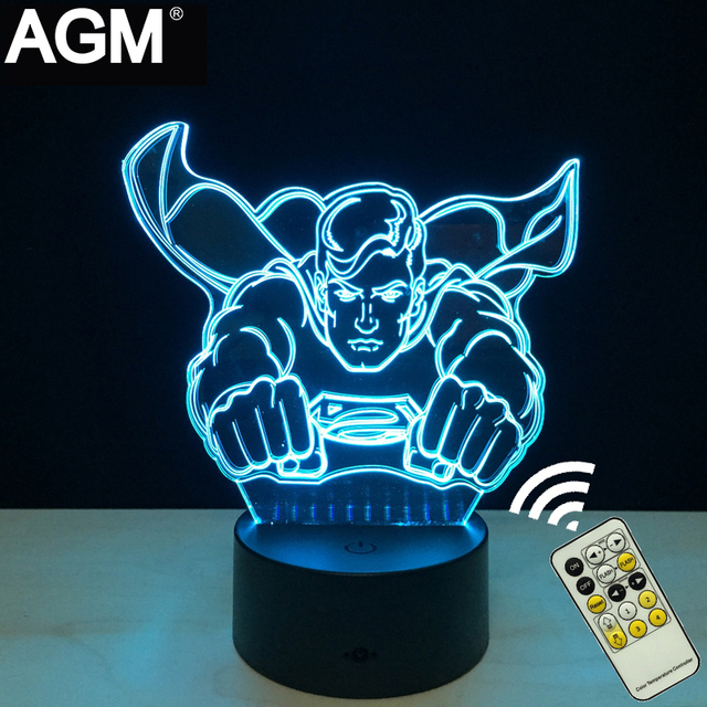 Marvel superman 3d night lights novelty iron man 3d mesa táctil lámpara de 7 Luces de Color RGB LED 3D Para Niños Decoración Nocturna Centellante