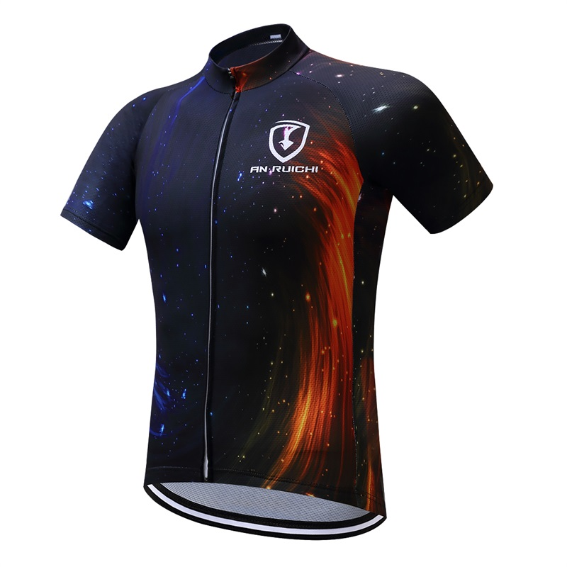 Cycling clothes shirt mountain bike equipment mens short-sleeved cycling splicing summer sweat-proof breathable Lycra knit