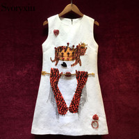 Svoryxiu Runway luxurious Summer Party Dress Women's Manual Beading Diamonds Queen Printed Jacquard White Mini Dress