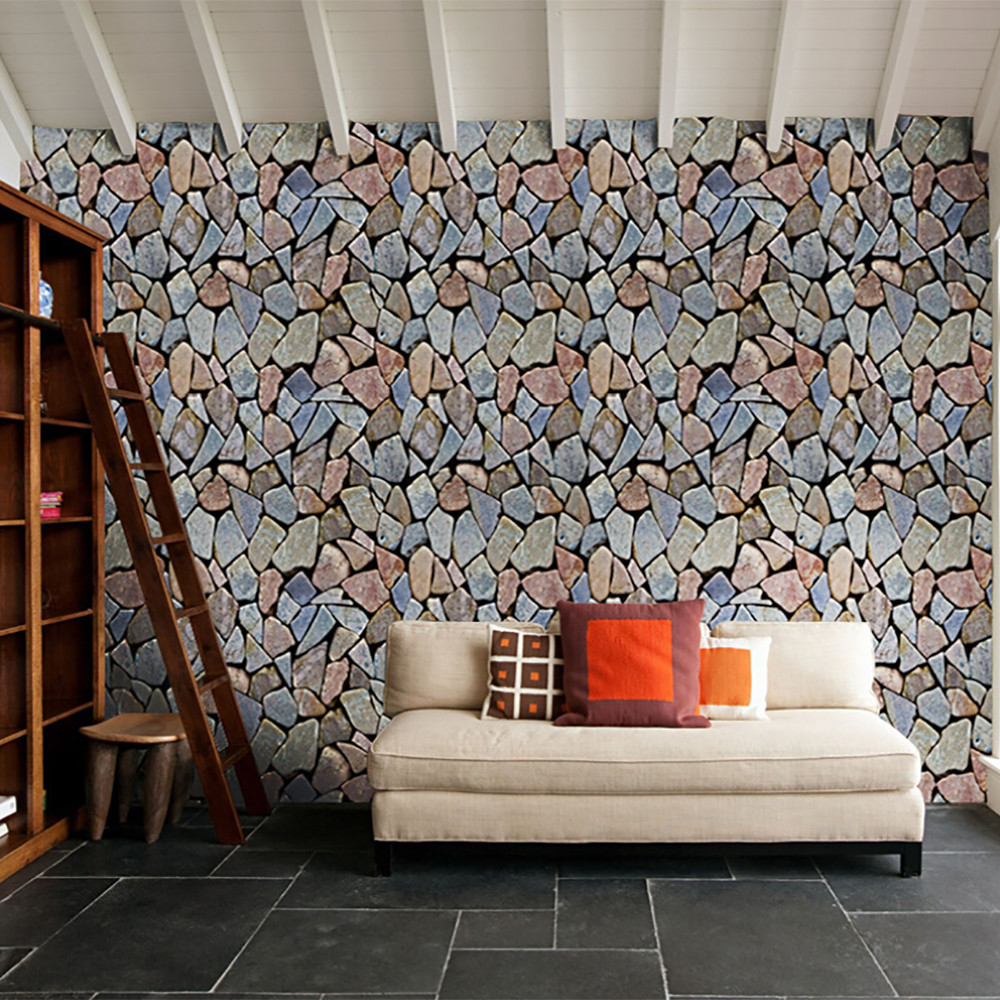 3d brick stone wall sticker for kids room rustic effect self adhesive home decor pared bedroom kitchen muursticker wallpaper in wall stickers from home