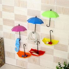 3 PCS Colorful Umbrella Shaped Wall Hook Key Holder Organizer Decorative Hanger House Decor