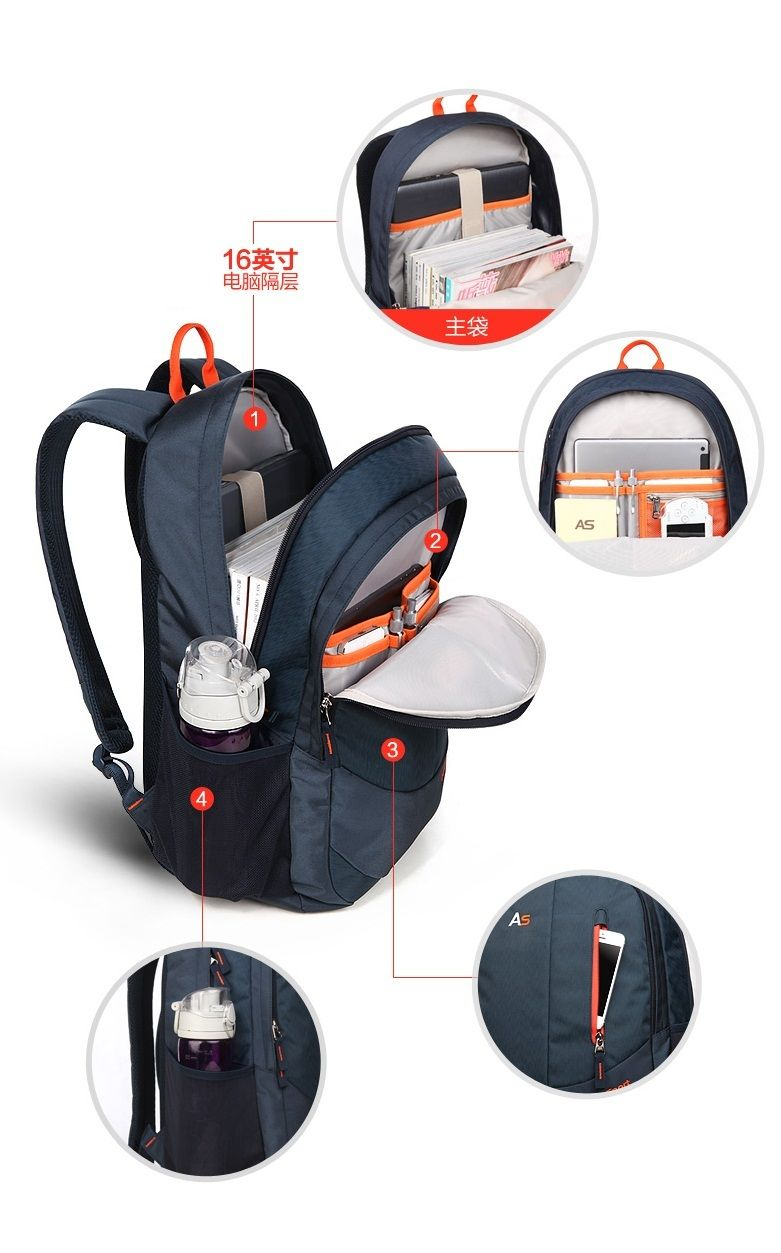 Fashion New Arrival 16 Inch Zipper Tablet Notebook Bag Laptop Backpack Travel Bags Student Shoulder Schoolbag Hiking Backpacks