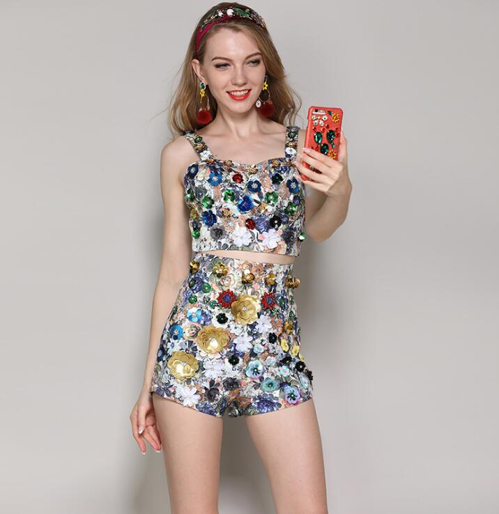 Summer Runway Two Piece Suit Set Luxury Womens Crystal Beading Sequin Jacquard Print Cami Top + High Waist A-line Shorts Set