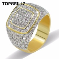 TOPGRILLZ Hip Hop Ring All Iced Out High Quality Micro Pave CZ Rings Women Men Gold