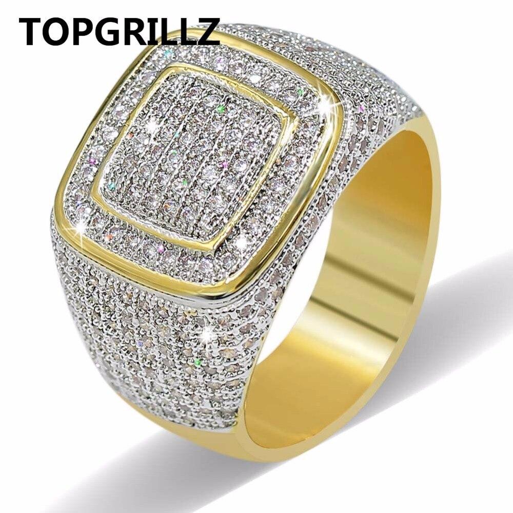 Topgrillz hip hop anillo todo iced out alta calidad micro Pave CZ Anillos mujeres y hombres oro Anillo para el amor, regalo