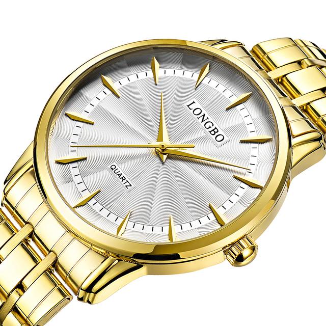 Longbo relógio de quartzo amantes de relógios dos homens das mulheres casal relógios analógicos relógios de pulso de couro moda casual relógios de ouro 1/pcs 80271