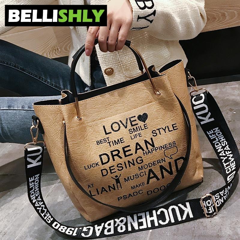 Bellishly women's words letter shoulder bag womens fashion popular handbags female zipper hand bags cell phone pocket lady bolsa 2