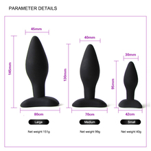 Anal Sex Toys Silicone Smooth Butt Plug For Unisex 3 Different Size Adults Product