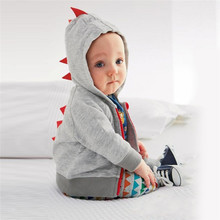 Cute Baby Boys Hoodies Jackets Hooded Dinosaur Coat Zipper Outerwear Spring Kids Toddler Windbreaker Clothes Three-24M Hot Sale