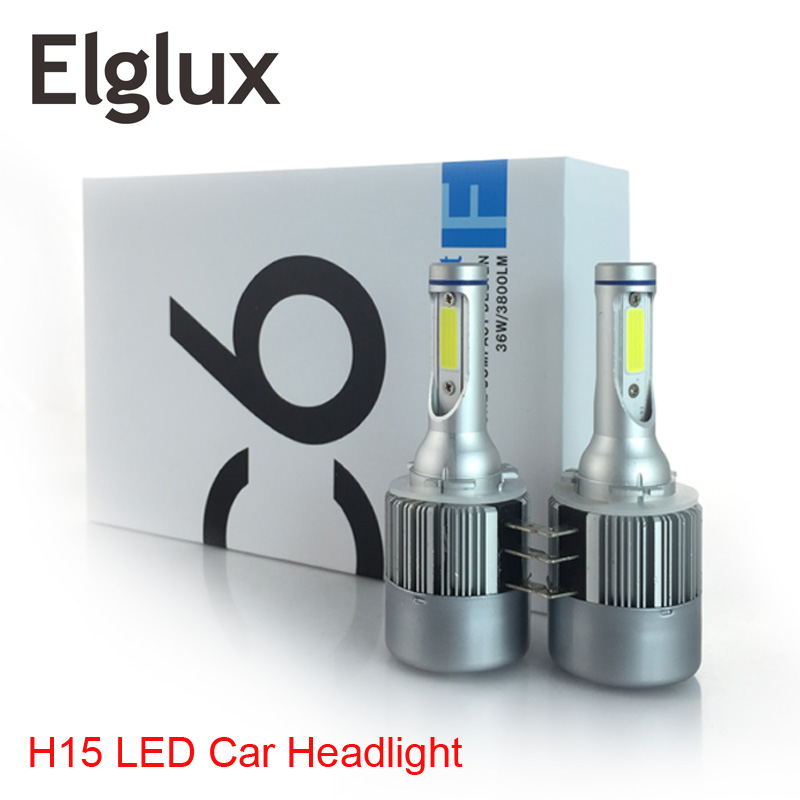 Elglux 2x H15 H7 H4 LED Bulb 72W 8000LM Wireless Car Headlight Lamp Conversion Driving Light Sourcing 6000K For ALL Car