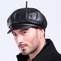 Svadilfari Berets 2017 New Spring High Quality Genuine Leather Black Color Cap Hat Beret Fashion Casual