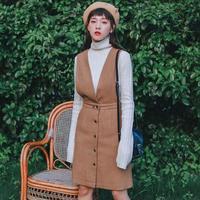 Preppy Style Female Sundress 2019 New Fashion Autumn Winter Women Sleeveless V neck Straps Woolen Dresses Khaki,Navy Blue