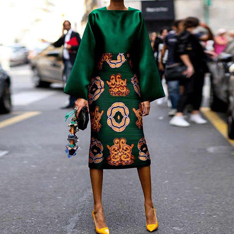 Винтажный костюм с юбкой средней длины с принтом и длинными рукавами, лето и осень 2019, новая мода, темперамент, шелковистая ткань, удобная Расклешенная