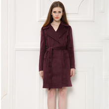 Classic Scarlet Extra Long Design Women Winter Woolen Jacket, Elegant Wool Jacket with Belt