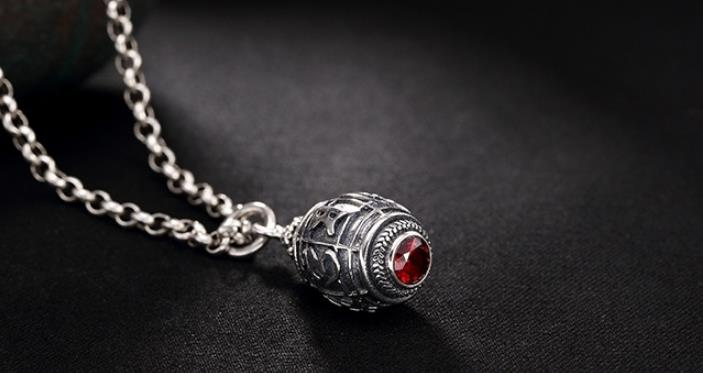 Sterling S925 925 silver Pendant openable charm garnet necklace thai silver