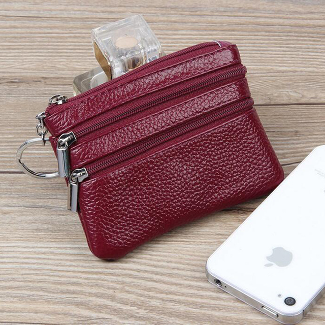 PU Leather Women Housekeeper Portable Business Credit Card Holder Small Key Wallet Coin Pouch Change Money Case Key Ring 6