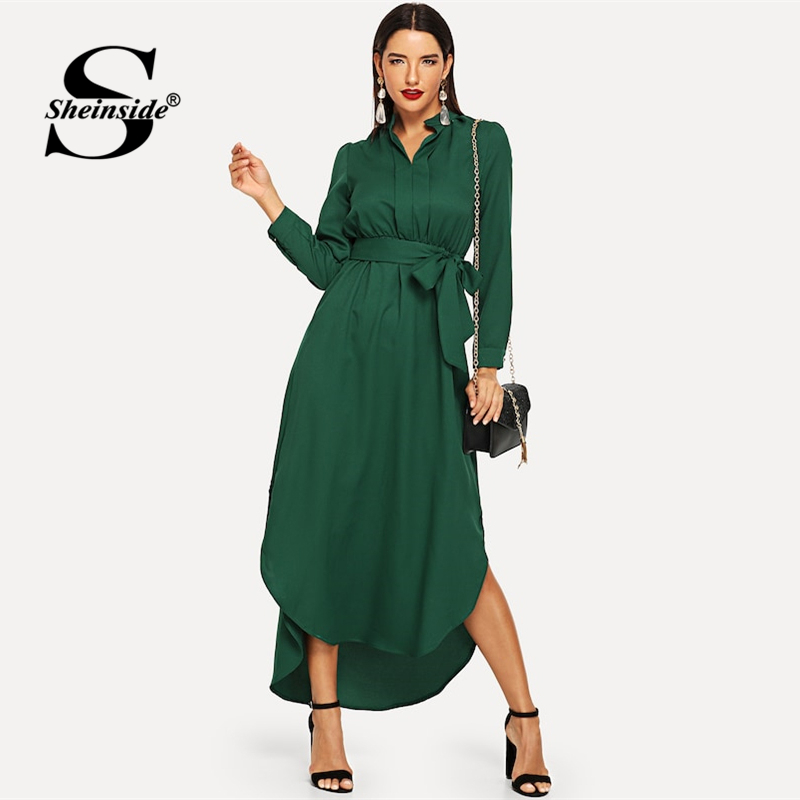 ff41c9fa72f Sheinside vert décontracté chemise ceinturée robe femmes droite Maxi robe  2019 printemps élégant taille haute OL dames vêtements de travail robes ...