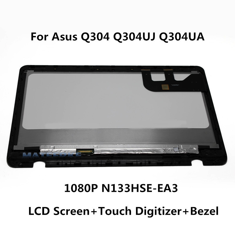 1920*1080 NEW 13.3 inch Touch LCD Screen with Bezel Assembly For Asus Q304 Q304UJ Q304UA Q304UA-BHI5T11 new 11 6 for sony vaio pro 11 touch screen digitizer assembly lcd vvx11f009g10g00 1920 1080
