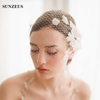Charming Tulle Bride Hair Accessories Vintage Flowers Pearls Girls Hair Face Veil with Comb for Ladies Party Accessories S805