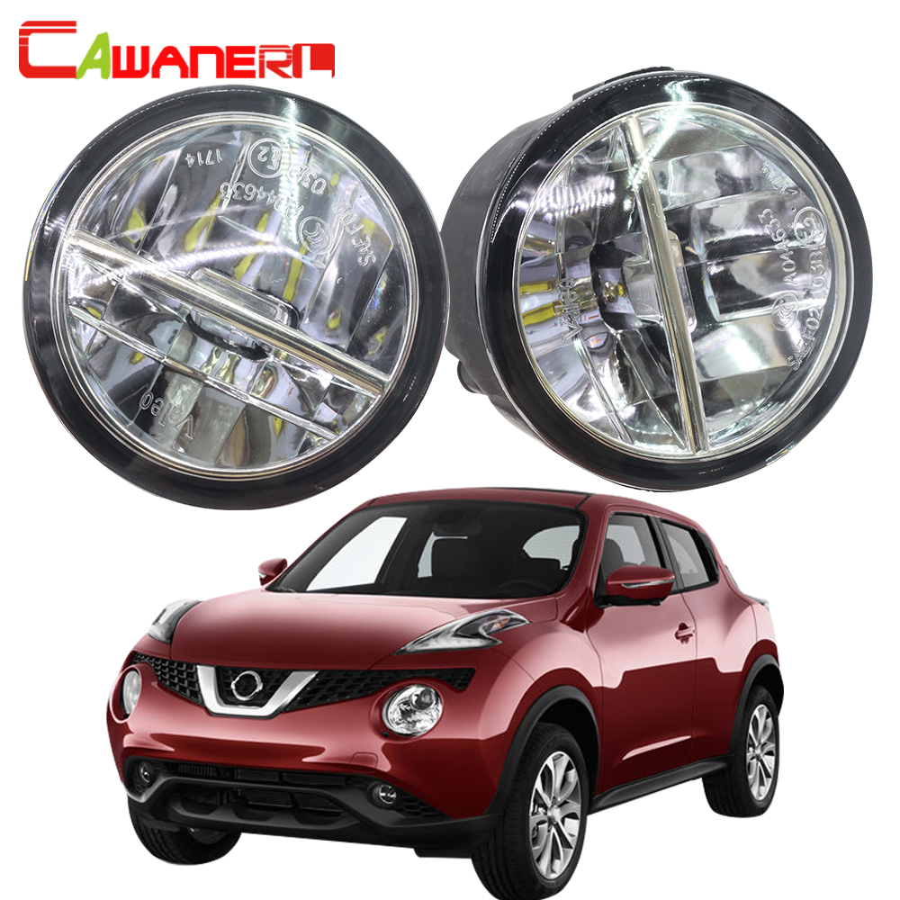Cawanerl 2 X Car Styling LED Fog Light 4000LM 6000K White Daytime Running Lamp DRL 12V For Nissan Juke F15 Hatchback 2010-2014 cawanerl 2 x car led fog light drl daytime running lamp accessories for nissan note e11 mpv 2006