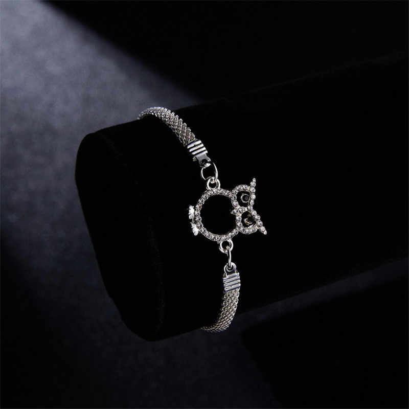 LUFANG 2019 New Cute Animal Bracelet Unisex Fashion Jewelry Geometric Hollow Copper Simple Rhinestone Bracelet Accessories Gift