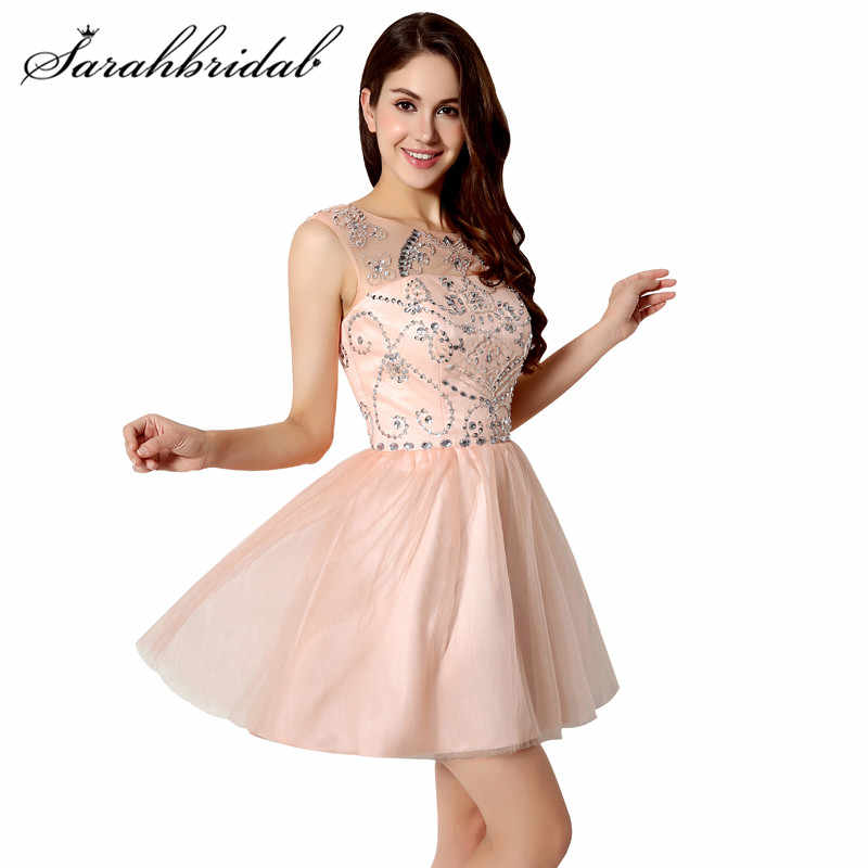 Cheap Short Prom Dresses Backless Crystals Beaded Real Photo Cocktail  Homecoming Gowns Tulle Above Knee Length 1e71a020d849