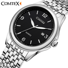 Comtex Brand New Men s Watch Business Fashion Wrist Watch Analog Display Quartz Movement Waterproof Calendar