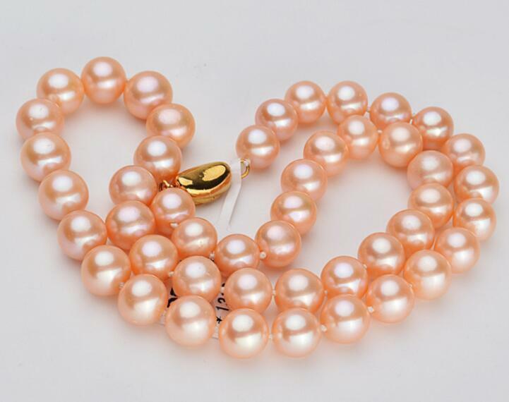 Magnifique 10-11mm mer du sud naturel rond or rose collier de perles 18 pouces
