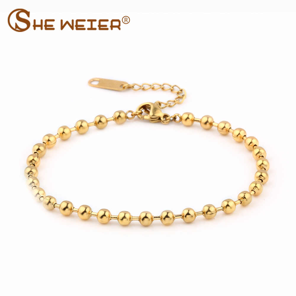 SHE WEIER stainless steel  jewelry charms chain link bracelets& bangles men femme gifts for women female braclet braslet gold