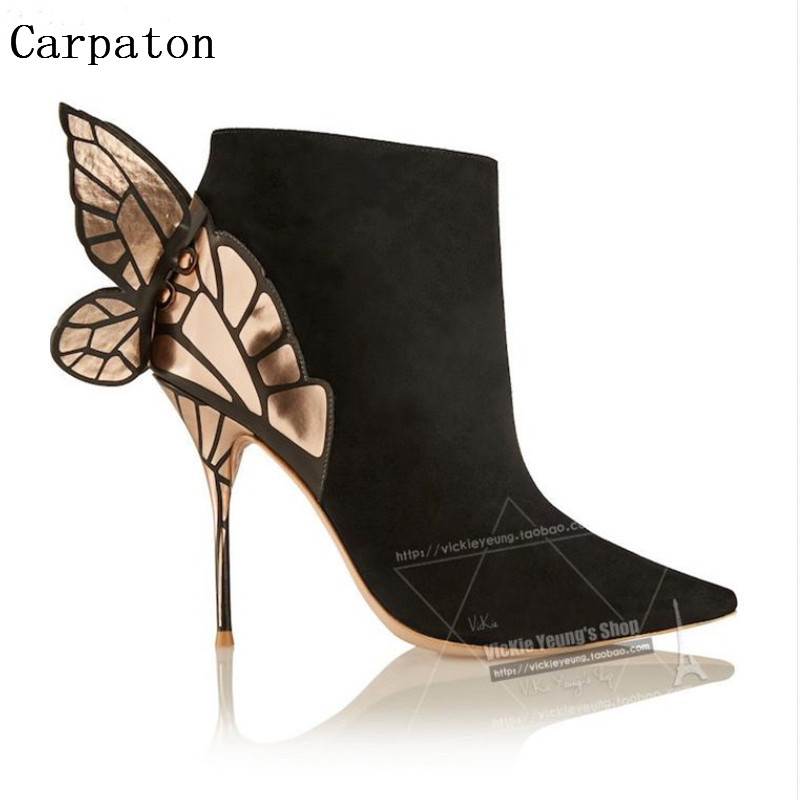 Gorgeous Design pointed toe double ankle strap spike heel ankle boots genuine leather punk zipper high heel woman pumps
