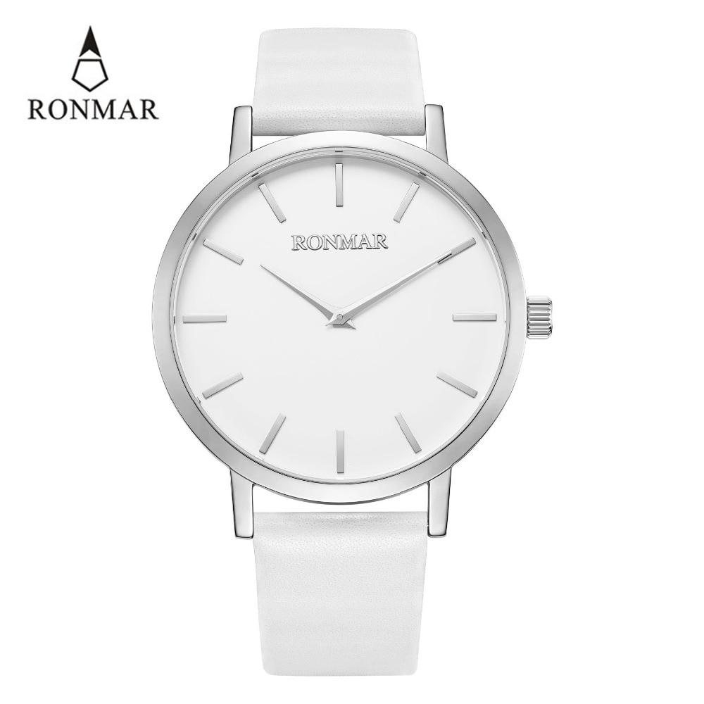 Reloj de lujo de los hombres 2018 de cuarzo de moda relojes de correa de cuero genuino relojes de oro RONMAR marca reloj resistente al agua - 2