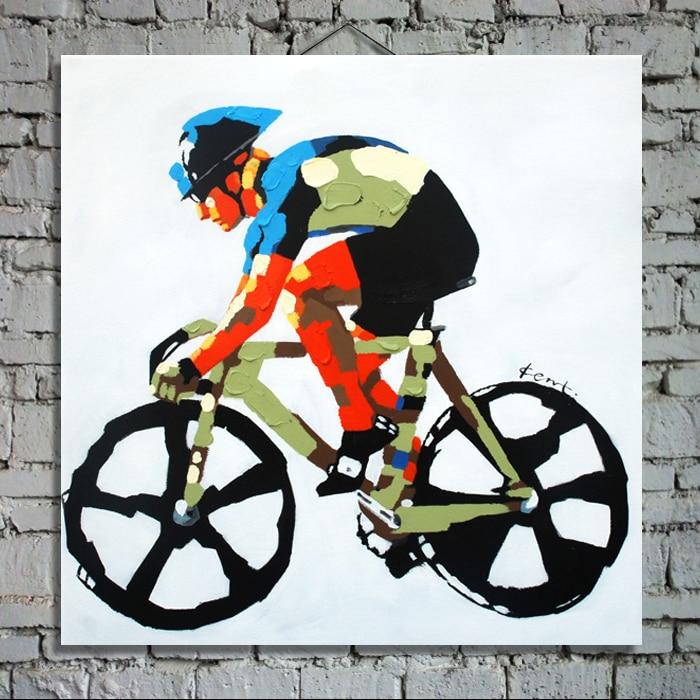 Moderne Abstrakte dekorative malerei abbildung ölgemälde sport fahrrad durch palette messer