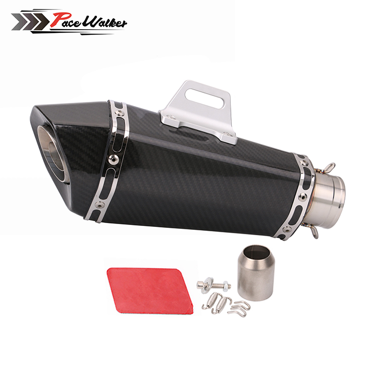 51mm Real Carbon Fiber Universal Motorcycle Head CNC Bracket Muffler Slip On Exhaust