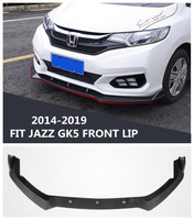 High Quality ABS Carbon Fiber Car Bumper Front Lip Spoilers Diffuset Fits For HONDA FIT JAZZ GK5 2014 2017/2018 2019 BY EMS