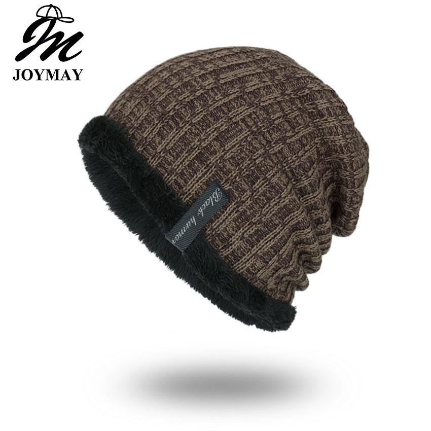 Joymay Winter Beanies Одноколірний капелюх унісекс рівнини теплий м'який череп в'язання шапки шапки Touca Gorro Caps для чоловіків жінок WM053