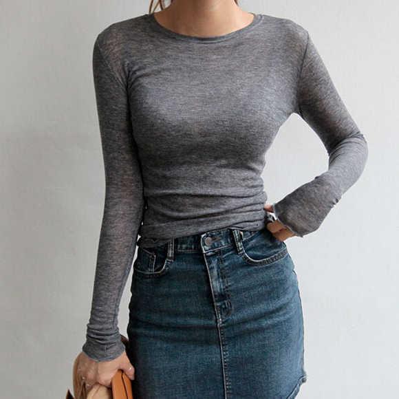 Новая летняя Весенняя женская футболка Повседневная футболка Femme тройники хлопковая футболка тонкий топ сексуальная женская футболка с длинным рукавом джокер
