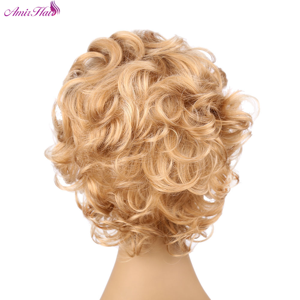Amir Hair 6inch Synthetic Curly hair Wigs with Side part Short Blond Deep curl women Wigs Heat Resistant