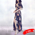 Женщин Плюс Размер Летние Цветочный Принт Длинные Платья V-образным Вырезом Одежда для Пляжа Дамы Многоцветный Цветочные Сплит Maxi Dress 3Xl 4Xl 5Xl
