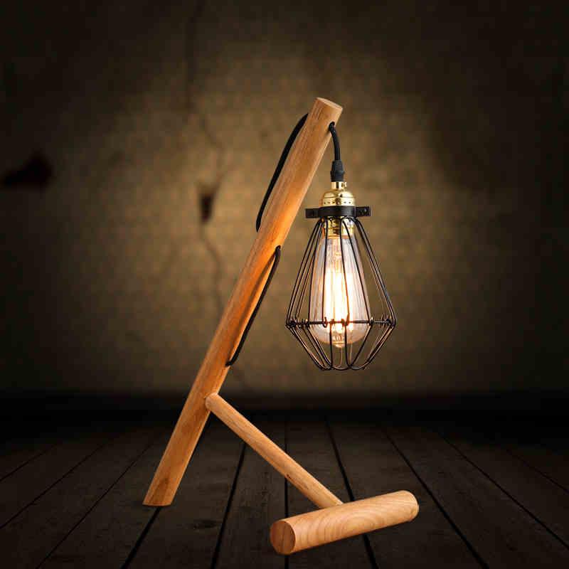 Solido di tipo industriale country americano loft vintage lampada da tavolo in legno piccola