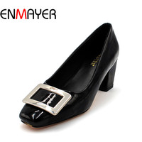 ENMAYER Spring Office Career Women Pumps Slip On Pointed Toe Flock Shoes Women Patent Leather Casual