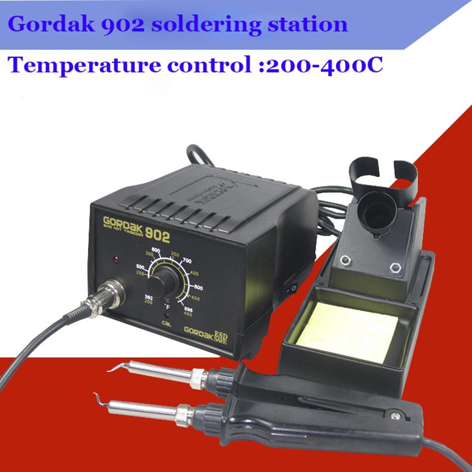 Genuine GORDAK 902 constant temperature soldering station double iron clip electric heating clip tweezers desoldering tools|Soldering Stations| |  - title=