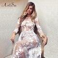 Artsu mulheres sexy moda ver através lace longo wedding dress bodycon verão vestidos de festa à noite maxi vestidos asdr20030